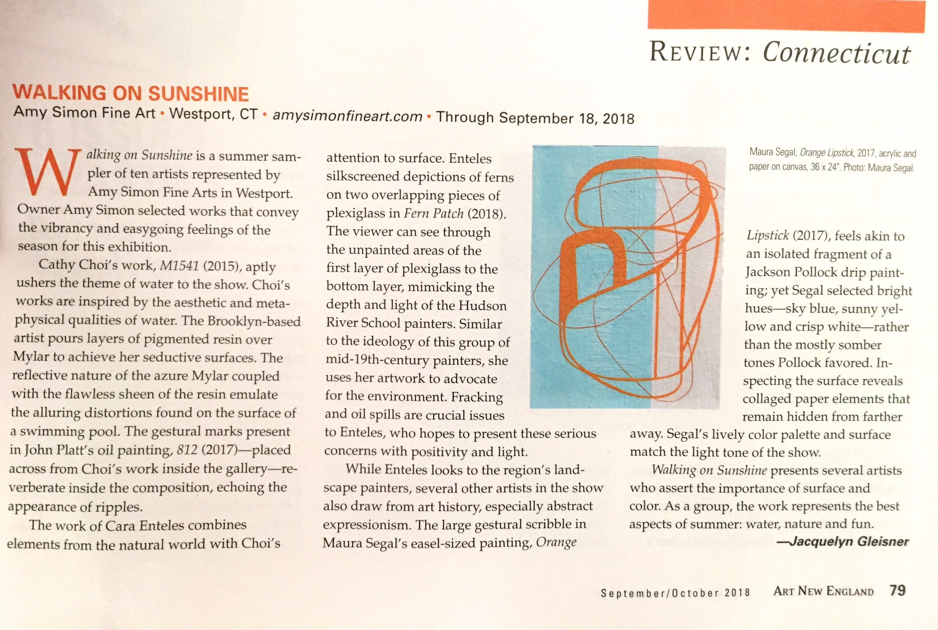"Art New England review of ""Walking on Sunshine"""